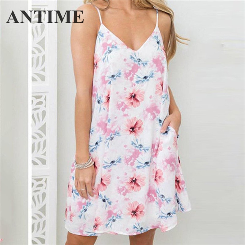 Antime curto vestido gracioso sem mangas floral a linha cinta de espaguete primavera verão bolsos casuais doce feminino vestidos sexy mini