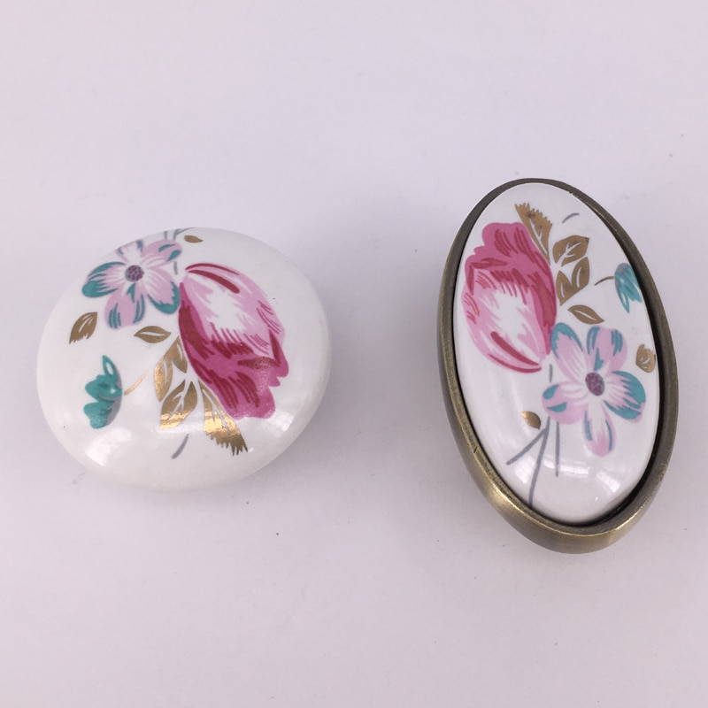 1x Impresión de tulipán, pomos de cerámica y tiradores de armario, tiradores de flores para muebles