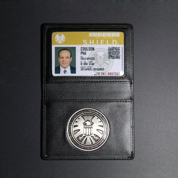 Los Vengadores agentes de S. H. I. E. L. D. Escudo insignia de cuero titular y tarjetas de identificación Coulson Melinda May Skye Fitz cosplay Accesorios