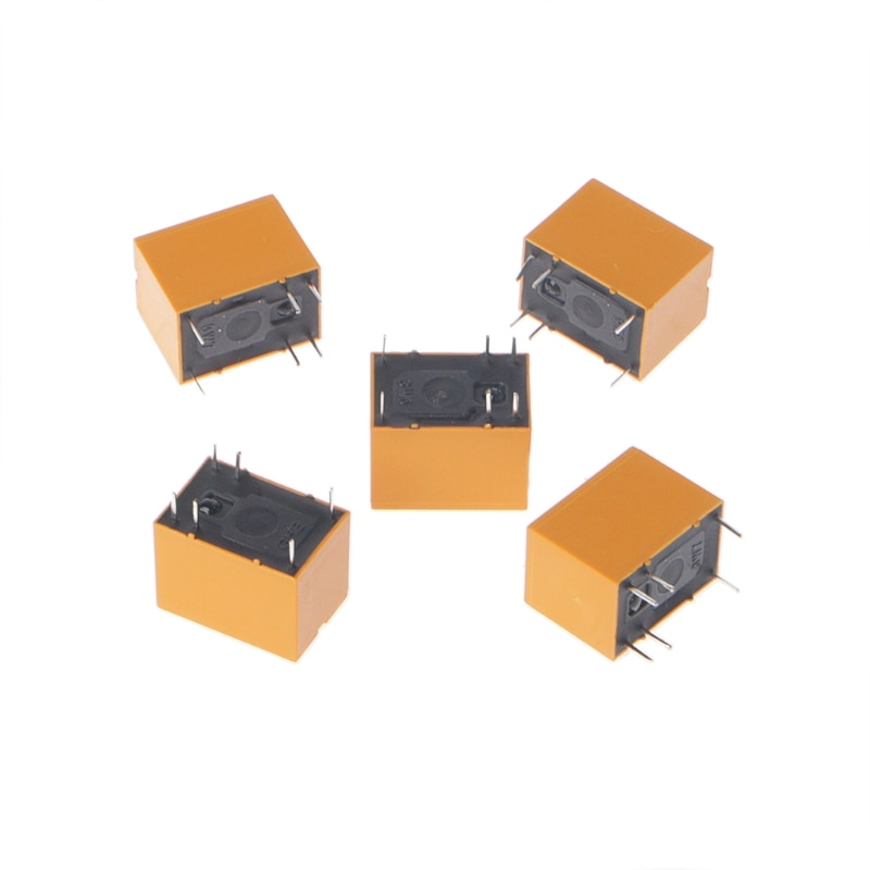 OOTDTY 5 uds 3V relé de HK4100F-DC 3V-SHG 6 pines 3A 250V AC 30V DC de 15,5mm en amarillo 750VA/90W