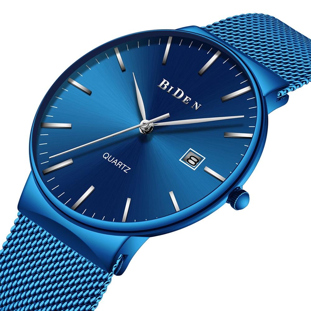 Spaß biden herren business edelstahl armbanduhren quarz luxus mann uhren wasserdicht kalender blau männer uhren Citizen bewegung
