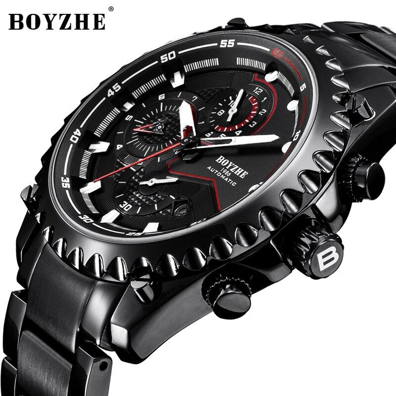 BOYZHE, nuevos relojes deportivos automáticos para hombre, relojes mecánicos de moda de lujo de acero inoxidable para exteriores, reloj Masculino