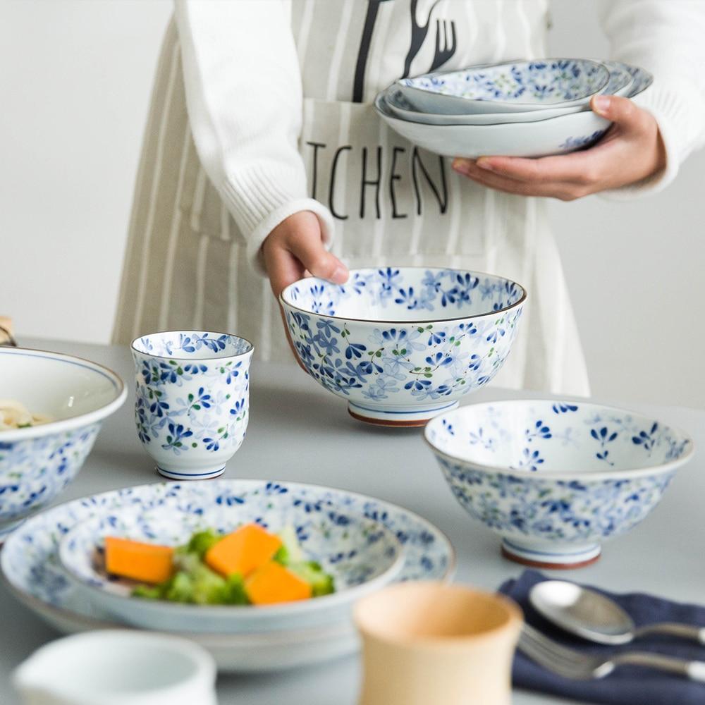 EECAMAIL японская серия с голубым цветком легкая костяная китайская керамическая посуда домашнее блюдо в стиле вестерн блюдо чаша для риса бол...