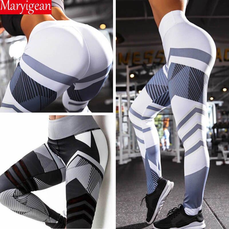 Maryigean 2019 Neue Active Hohe Taille Fitness Leggings Frauen Hosen Mode Patchwork Workout Legging Stretch Dünne Sportswear