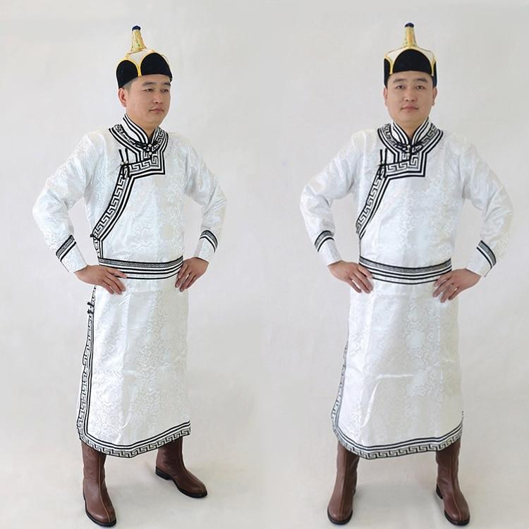 Hombre adulto mongol boda diario ropa de Genghis Jan ciudad natal hombre Mongolia vestido blanco bata danza ropa de actuación