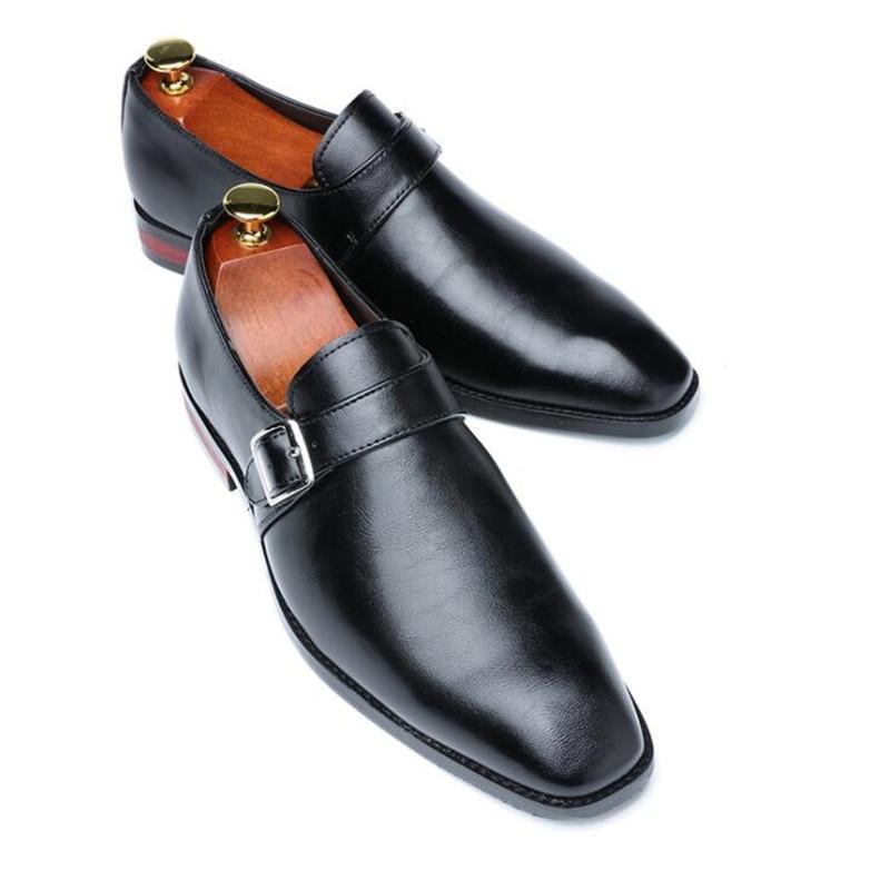 VIVODSICCO 2019 nuevos zapatos de vestir de oficina para hombre, zapatos de caballero con hebilla única, zapatos formales Oxfords de monje, zapatos con correa