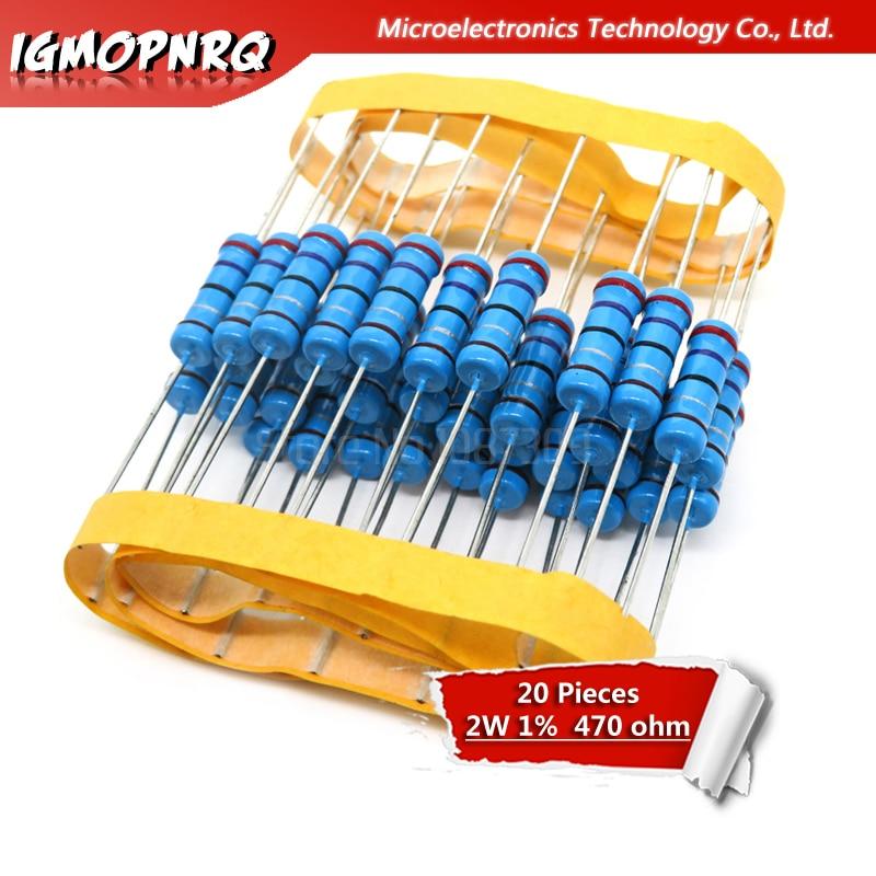 20 piezas 2W resistencia de película metálica resistencia 1% 2W-470R 470ohm 470R