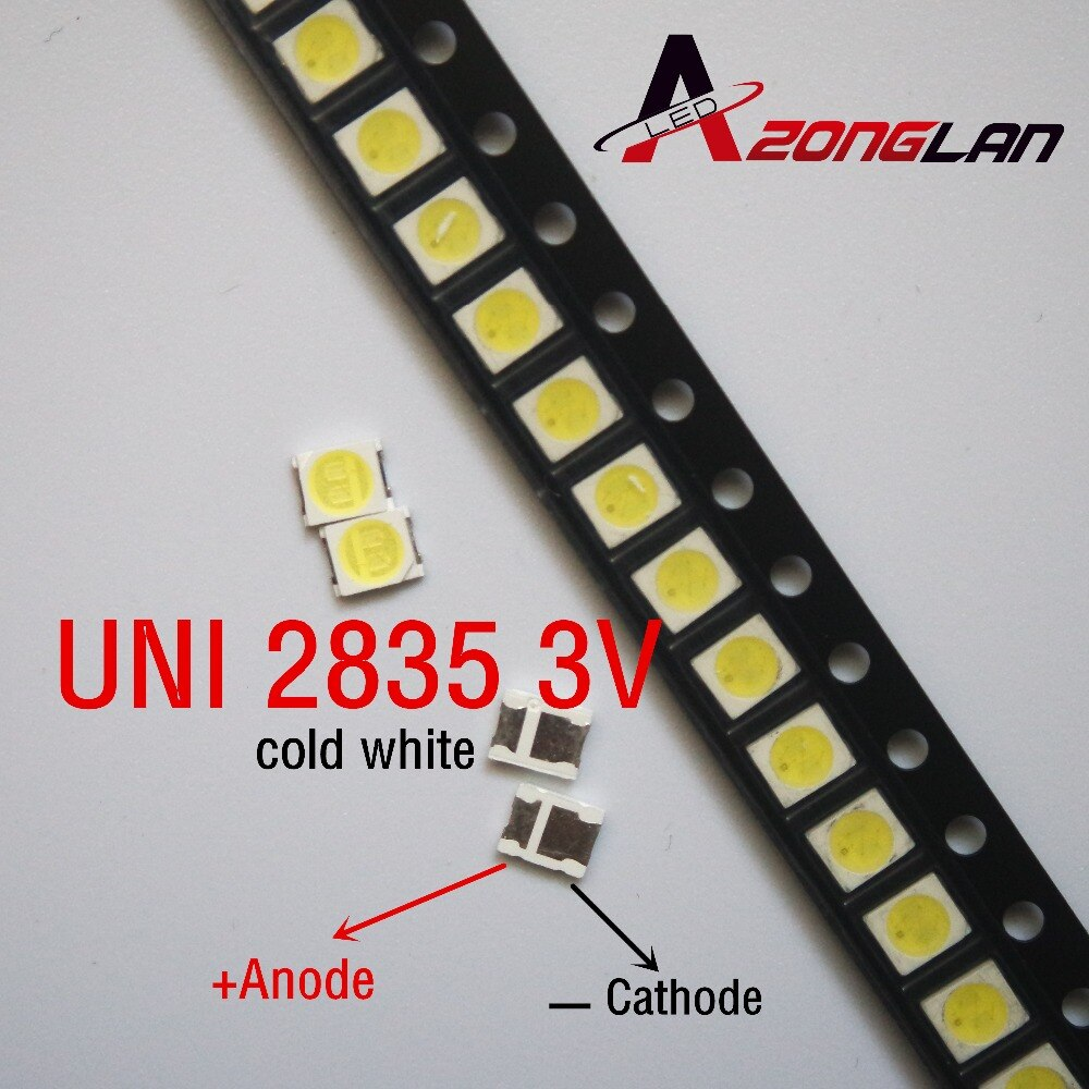 500PCS UNI LED Backlight High Power LED 1W 3V 1210 3528 2835 Cool white LCD Backlight for TV TV Application MSL-628KSW