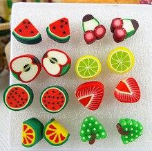 8 paires mignon fait à la main assorti Fimo polymère argile Fruits glace boucles doreilles filles enfants dessin animé brincos cadeaux de noël