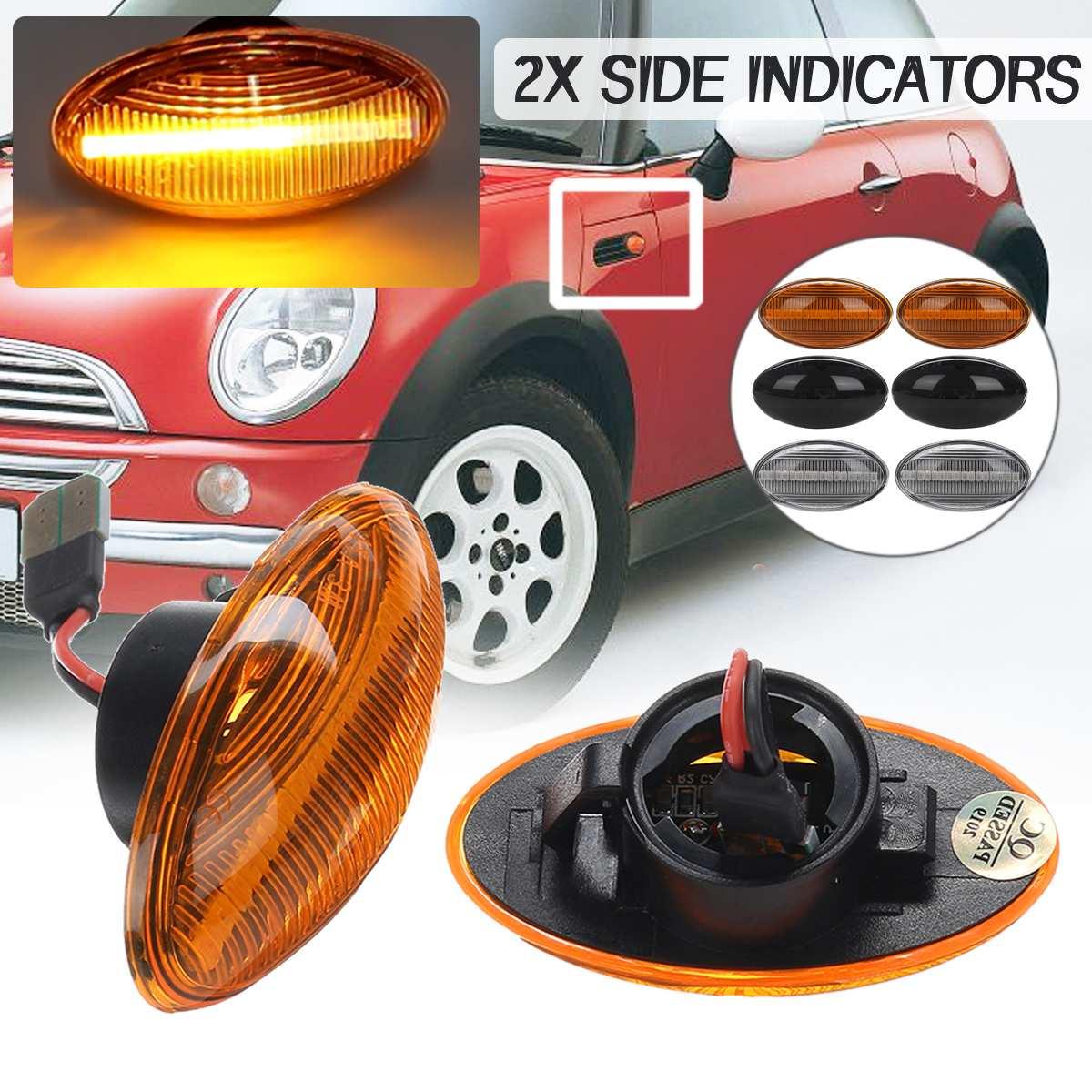 2 uds. Luz LED de posición lateral dinámica con repetidor lateral que fluye, lámpara de Panel libre de errores para BMW para MINI Cooper R50 R52 R53 02-08