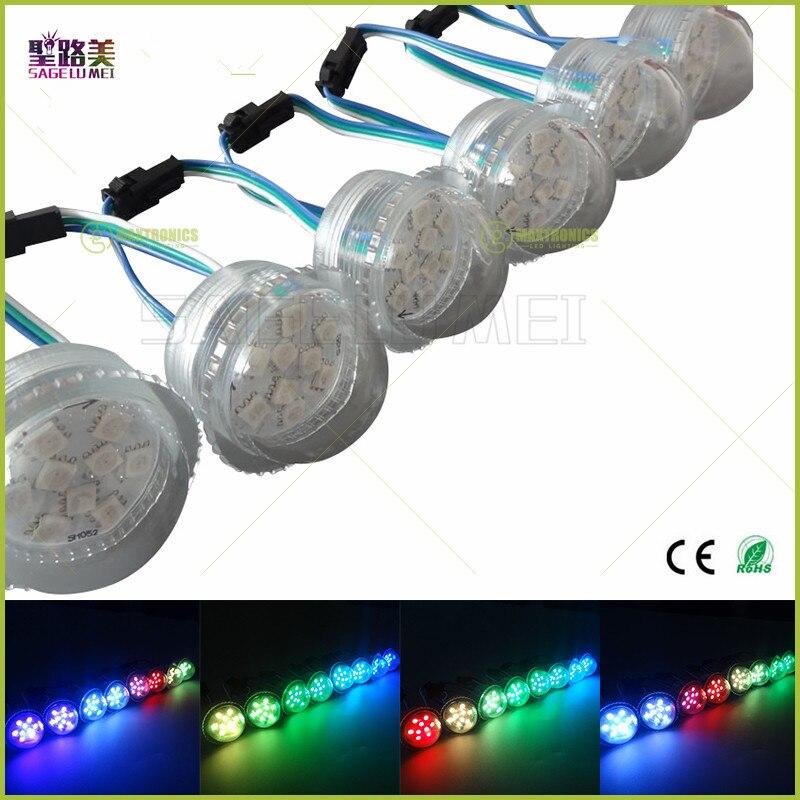 200 unidades/pacote super brilhante dc12v 2903ic 9leds smd 5050 rgb pixel luz d36mmtransparente capa led módulo cordas à prova dip68 água ip68