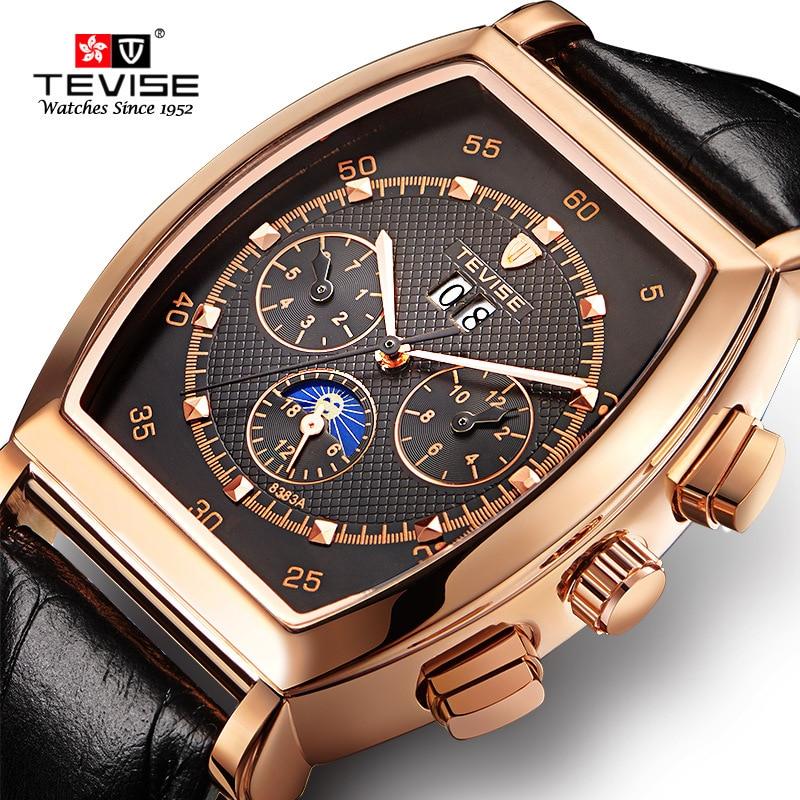 Barrel shape Mens Mechanical Watch Luxury Fashion Sport Wristwatch Waterproof Leather strap Male Wat