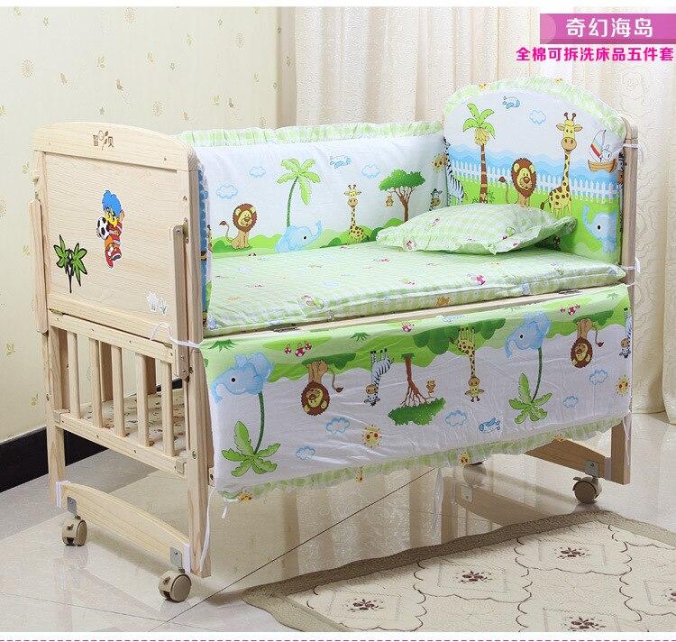 Promoção! 6 pçs crianças conjuntos de cama do bebê berço roupas de cama do bebê laranja urso berço do bebê folhas (3 pára-choques + matress travesseiro edredon)