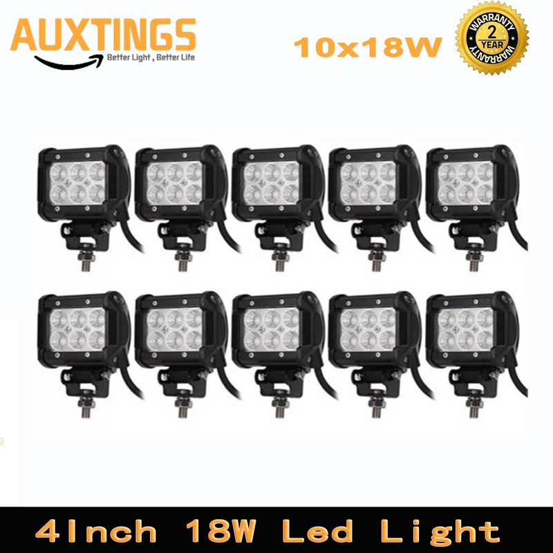 10PCS FREE SHIPPING 4inch 18w led light bar spot flood offroad led work light 12 volt IP67 led driving light for trucks