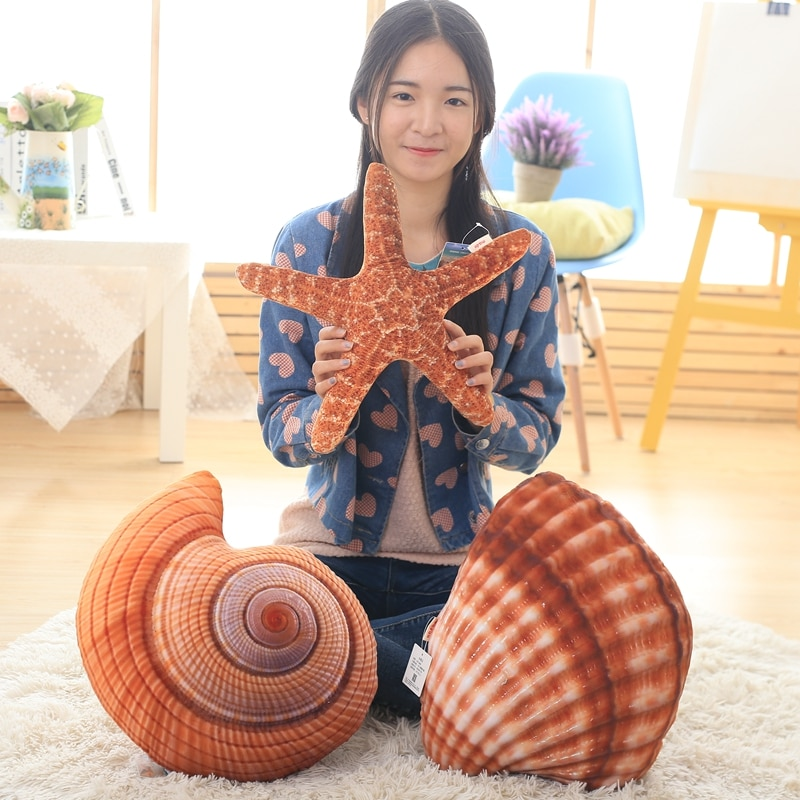 GGS Creative 3D Simulation marine life The Sea Plush Toy Doll conch shells cusion starfish pillow sofa cushions Bed Car Decor
