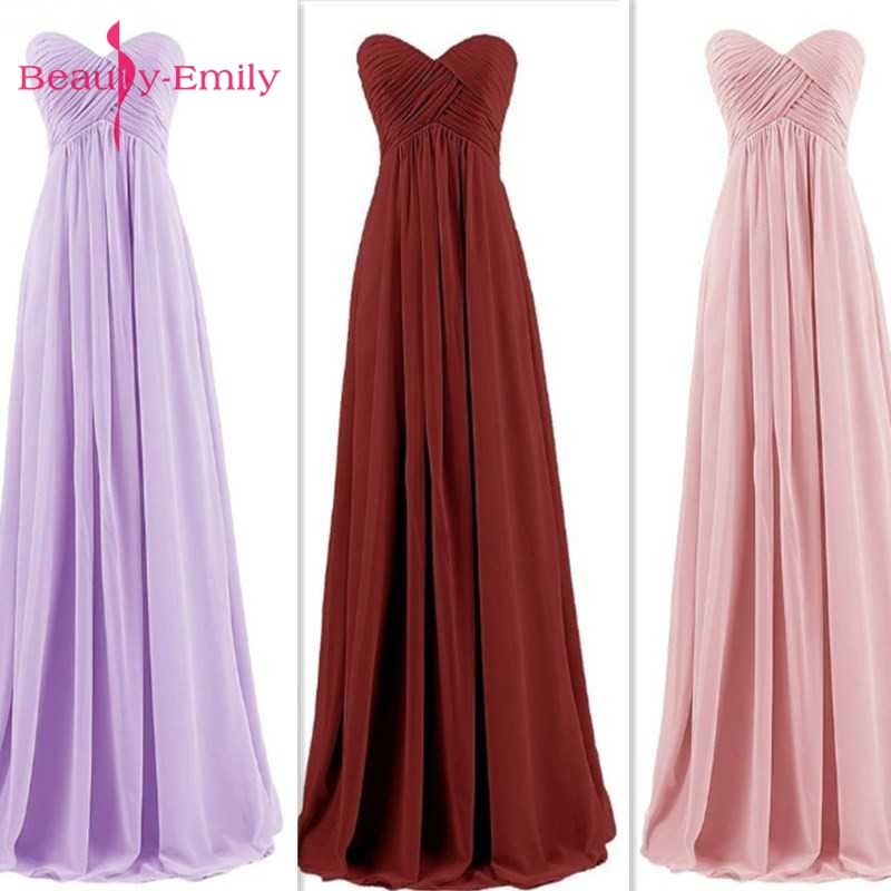 Beauty Emily Long Chiffon Bridesmaid Dresses 2020 Pink A-Line Sleeveless Sweetheart Off the Shoulder Homecoming Party Dresses