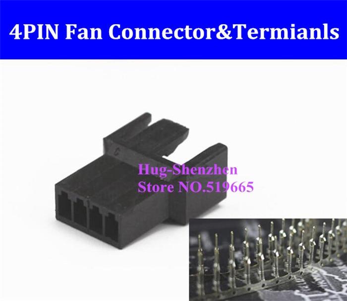 Precio de fábrica 4pin 4 Pin PWM ventilador hembra conector con terminal prensado pines-Negro
