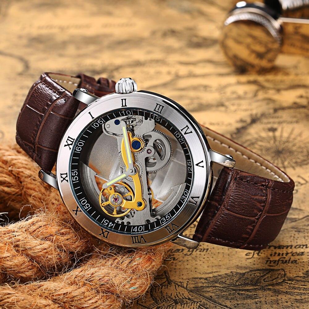 New Creative Watches Men 3ATM Waterproof Transparent Case  Automatic Mechanical Watch Mens Tourbillo
