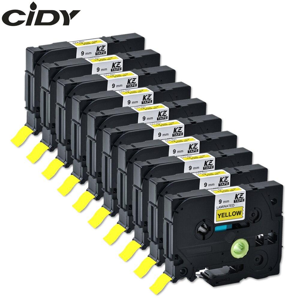 CIDY compatible para brother 9mm tze cinta laminada tze621 tze 621 tze-621 tz621 tz-621 para brother label maker cinta de impresora