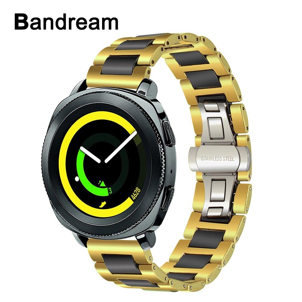 Black Ceramic + Gold Stainless Steel Watchband for Samsung Gear Sport SM-R600 Garmin Vivoactive3 Watch Band Quick Release Strap