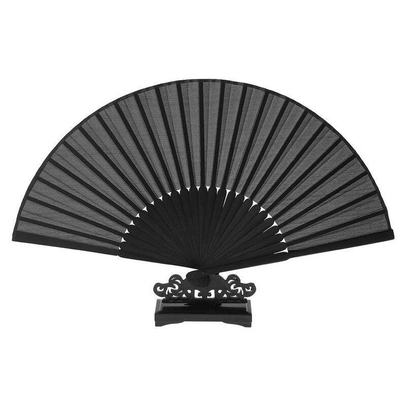 Eventail pliant en bambou Vintage 1 pièce   Cadeaux de poche pour fête chinoise, décoration de maison, wachlarz reczny noir