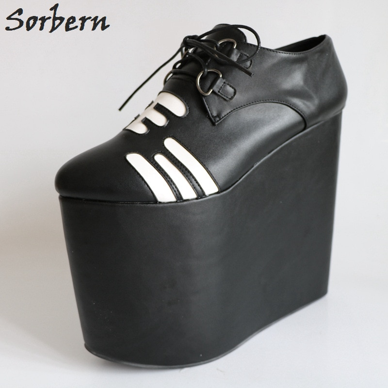 Sorbern-حذاء نسائي بكعب عالٍ ، حذاء أسود بكعب عالٍ للغاية ، حذاء نسائي برباط ، ألوان مخصصة ، صنم
