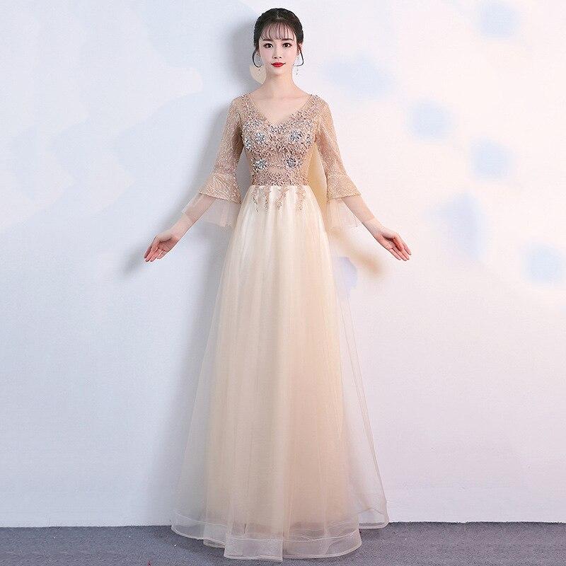 فستان سهرة طويل نحيف ، فستان إشبينة العروس ، أكمام طويلة ، ياقة على شكل v ، مجموعة جديدة 2020