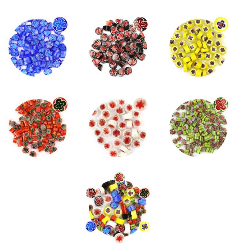 500 g/bolsa colorida flor fundida gafas mezcladas hermosa Millefiori vidrio para microondas horno accesorios para decoración artesanal DIY