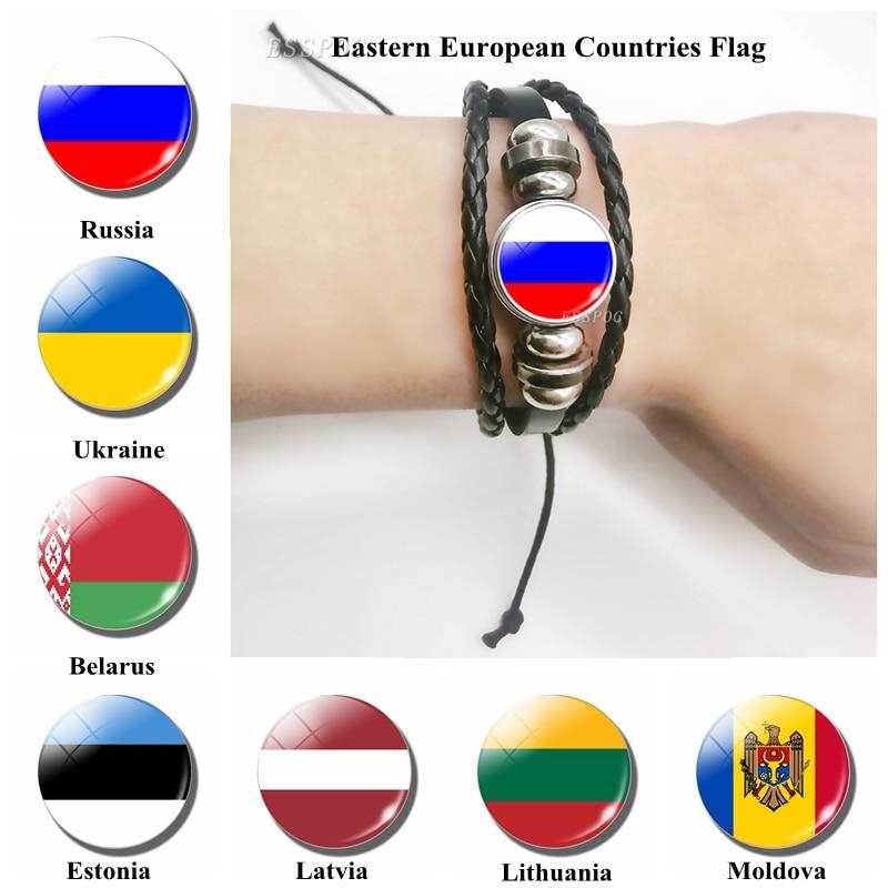Pulsera de cuero con bandera de Rusia, Ucrania, Estonia, Lituania, Moldavia, Letonia, Bielorrusia, brazalete con bandera europea, regalo de joyería para hombres