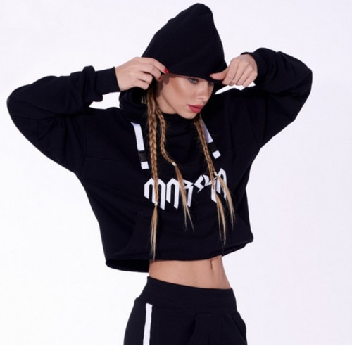 2017 Women Hoodie Long Sleeve Aiguillette Hooded Sweatshirt Crop Top Jumper Warm Letter Print Pullover Plus Size White Black