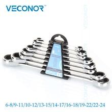 Veconor 8 шт. набор односторонних трещоточных ключей с двойной головкой, Хромовый ванадиевый Быстрый Реверсивный метрический комбинированный ...