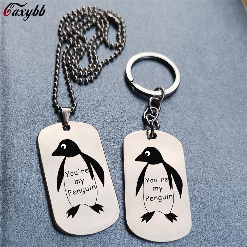 Vous êtes mon pingouin estampillé à la main collier ou porte-clés cadeau pour petit ami ou petite amie meilleur ami épouse mari mignon pingouin cadeau