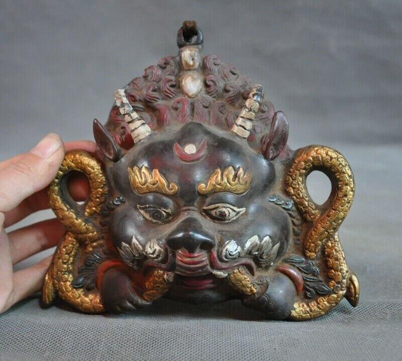 Decoración de la boda de bronce Tibet pintado a mano con alas Ave Garuda águila exorcismo de Buda colgante de pared
