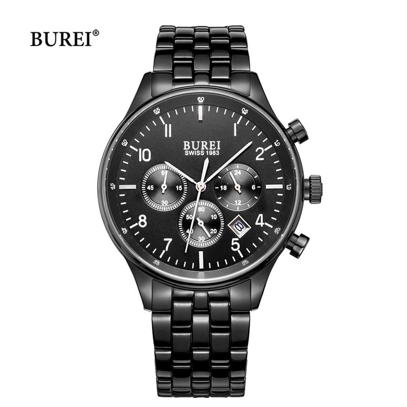 Reloj de pulsera BUREI para hombre, reloj de pulsera de cuarzo con cronógrafo de cristal de zafiro militar, resistente al agua
