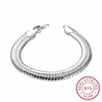 lekani 10mm snake link chain bracelet men fine jewelry 925 sterling silver 21cm bling flat snake bracelets bangles male gift
