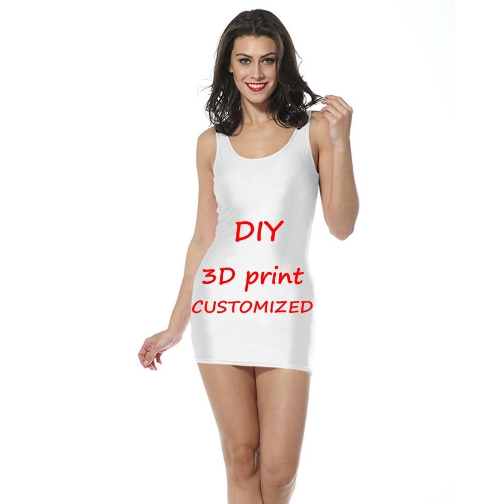 Su misura 3D Stampa FAI DA TE di Design delle donne del Collo Vestito aderente senza maniche Abiti FAI Da TE la tua Foto o Logo Bianco Top Magliette delle donne modale