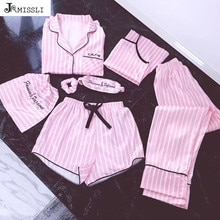 Jrmissli pijamas feminino 7 peças rosa conjuntos de pijamas cetim seda sexy lingerie casa wear pijamas conjunto pijamas mulher