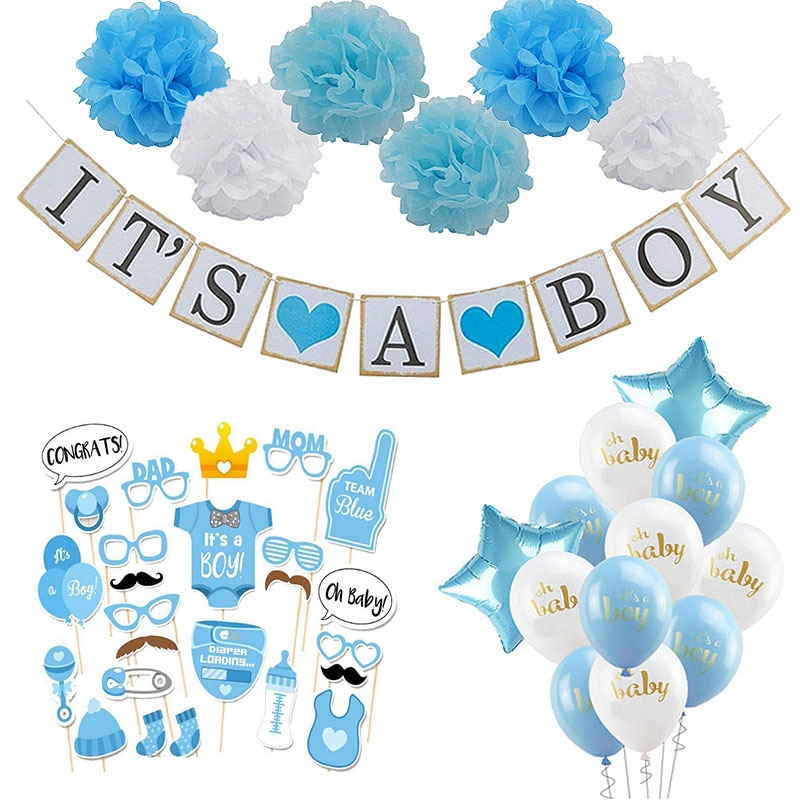 Baby Shower Boy Girl Decorations Set It's a Boy It's a Girl oh baby Balloons Gender Reveal Kids Birthday Party Baby Shower Gifts baby shower balloons blue pink boy girl foil ballons kids gender reveal first 1st birthday party kids party decorations supplies