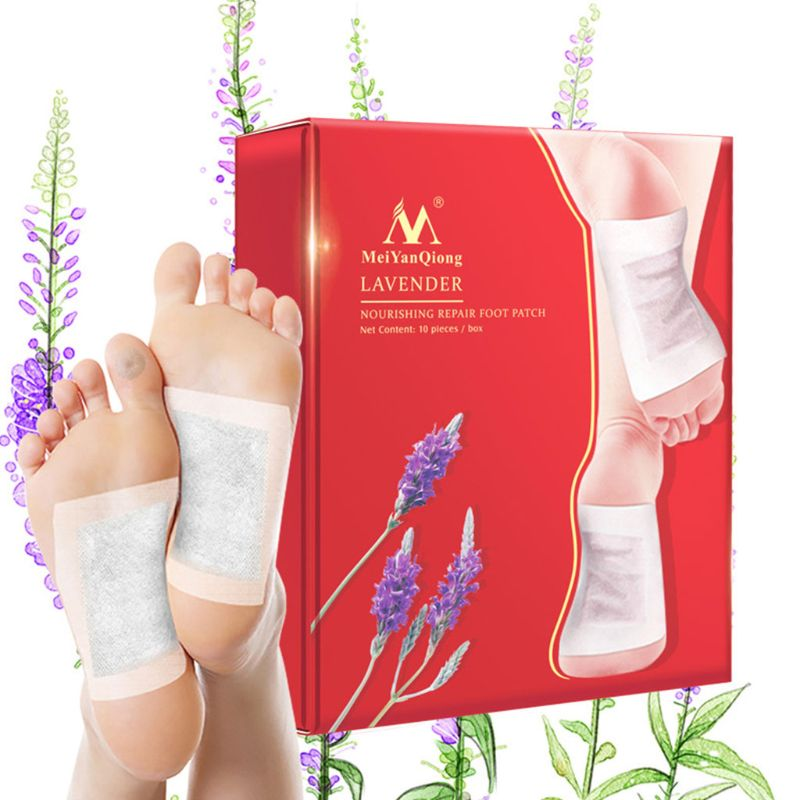 20Pcs Lavender Detox Foot Patches Nourishing Repair Improve Sleep Bamboo Vinegar With Adhesive Plaster Toxins Cleansing Health