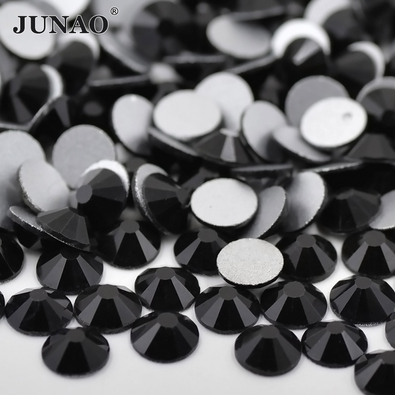 JUNAO SS 3 6 8 10 16 20 30 Black Glass Nail Rhinestones Diamond Flat Back Stones and Crystals Non Hotfix Glass Strass Beads