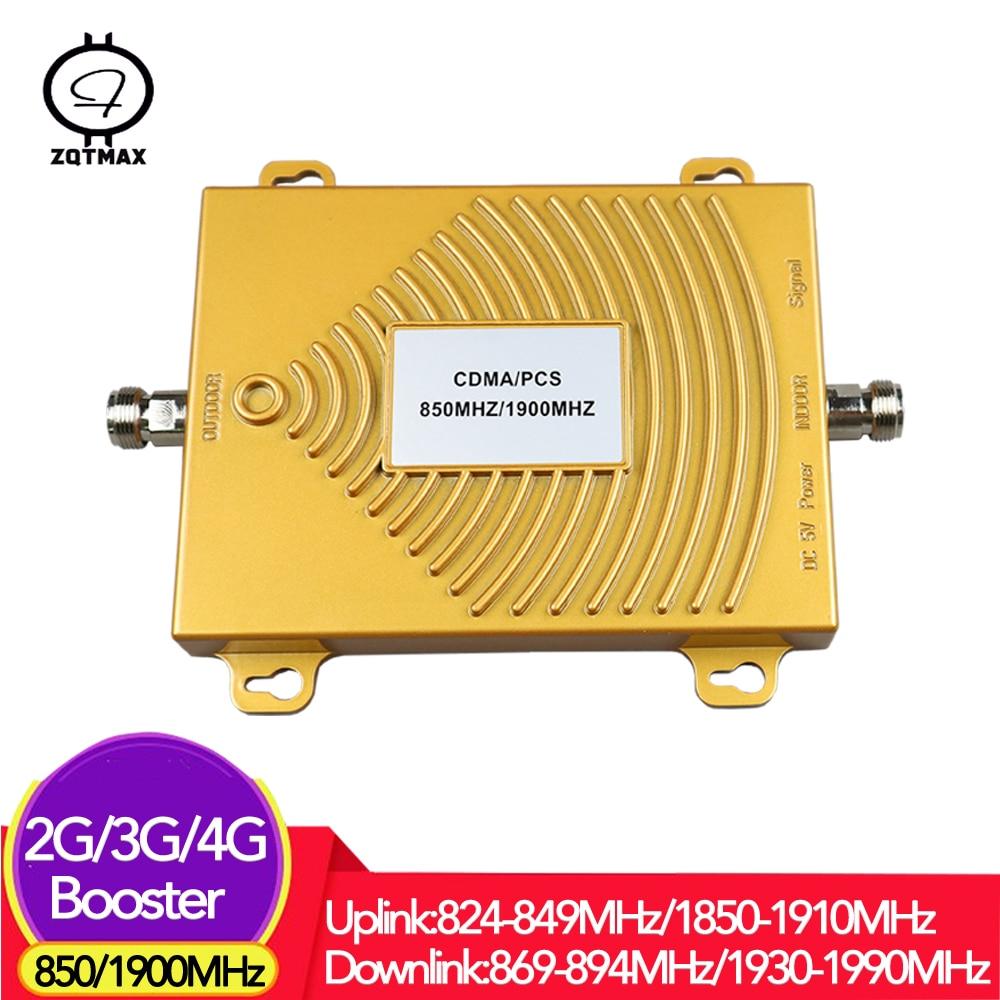 ZQTMAX dual band 850 GSM Repeater 2g 3g 4g LTE UMTS data Cell phone cellular Amplifier B2 (pcs) B5 (cdma)