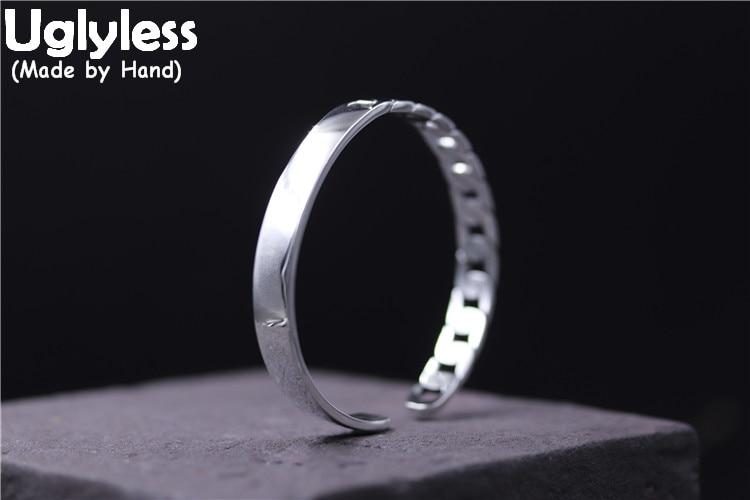 Uglyless Real S925 plata esterlina Neutral diseño Unisex textura de tejido pulseras asimétricas pulseras de giro hueco hombres mujeres Bijoux
