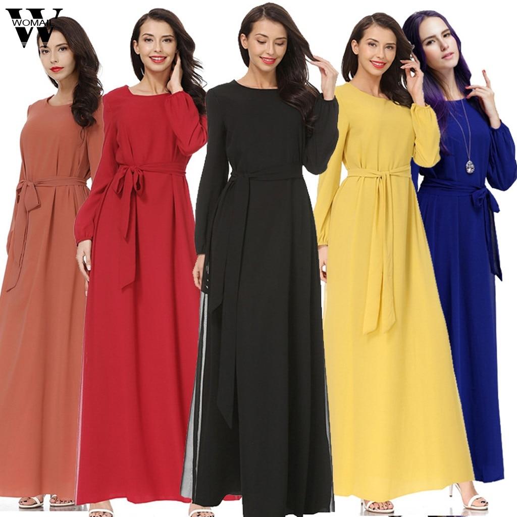 Womail vestido musulmán mujeres Kaftan islámico Abaya manga larga de alta cintura gasa elegante musulmán partido Dubai Maxi vestido 2019 A9