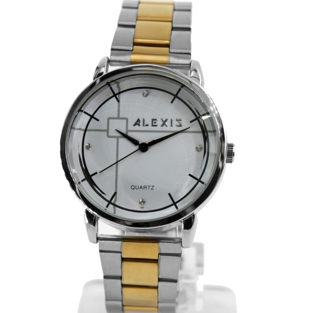 Alexis Men Analog Quartz Round Watch Japan PC21J Movement Gold with Shiny Stainless Steel Band White Dial Water Resistant enlarge