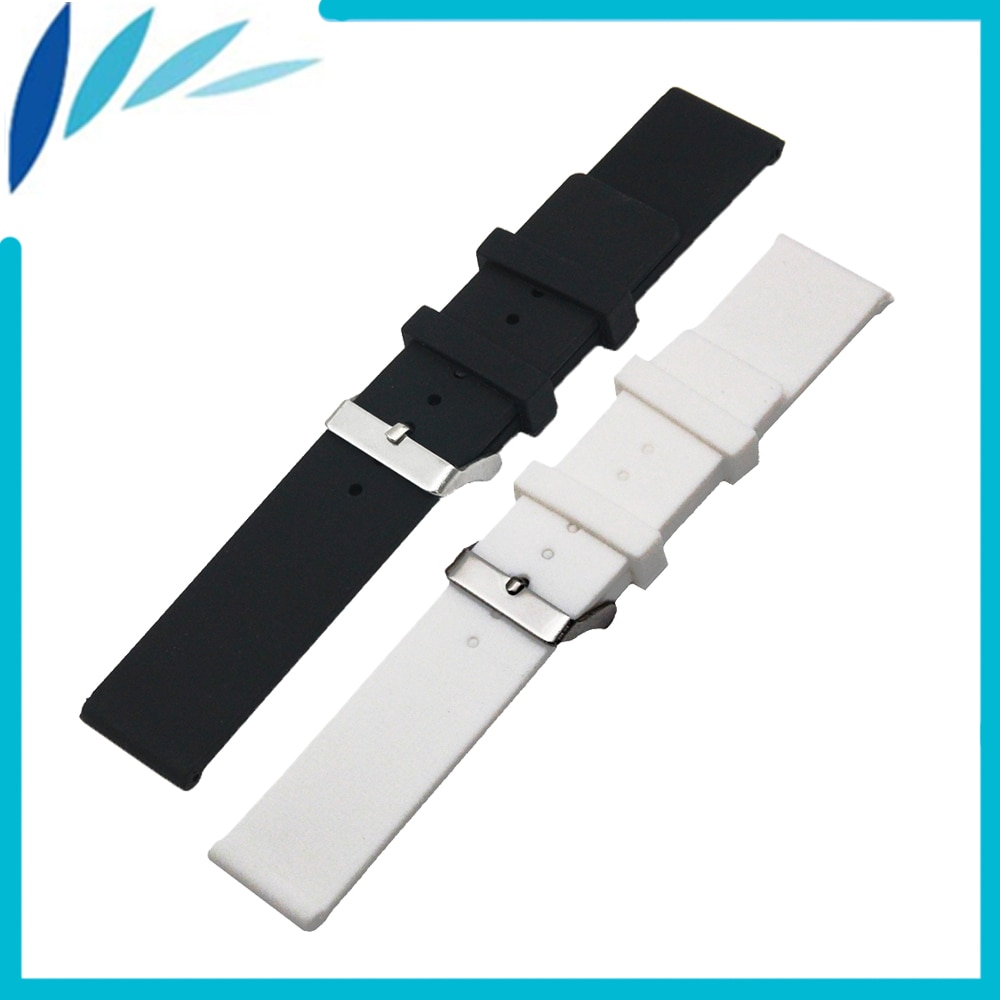 Silicone Rubber Watch Band 20mm 22mm 24mm for MK Stainless Steel Pin Clasp Strap Wrist Loop Belt Bracelet Black White + Tool
