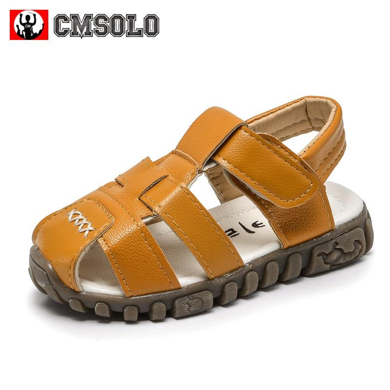 CMSOLO Kids Sandals Summer Beach Footwear Boys Leather Fashion Non-slip Children Infant Children New Baby Cow Muscle Sandal Hots