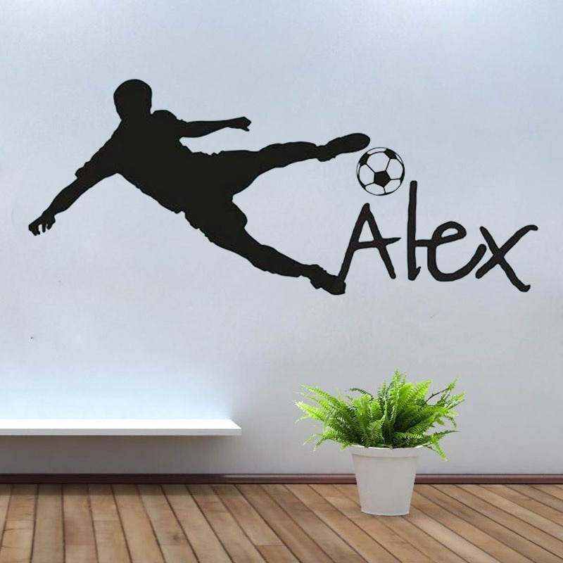 Calcomanía de vinilo para pared con nombre personalizado, pegatina para habitación infantil, pelota de fútbol, nombre personalizado, pegatina de pared para dormitorio infantil huang094