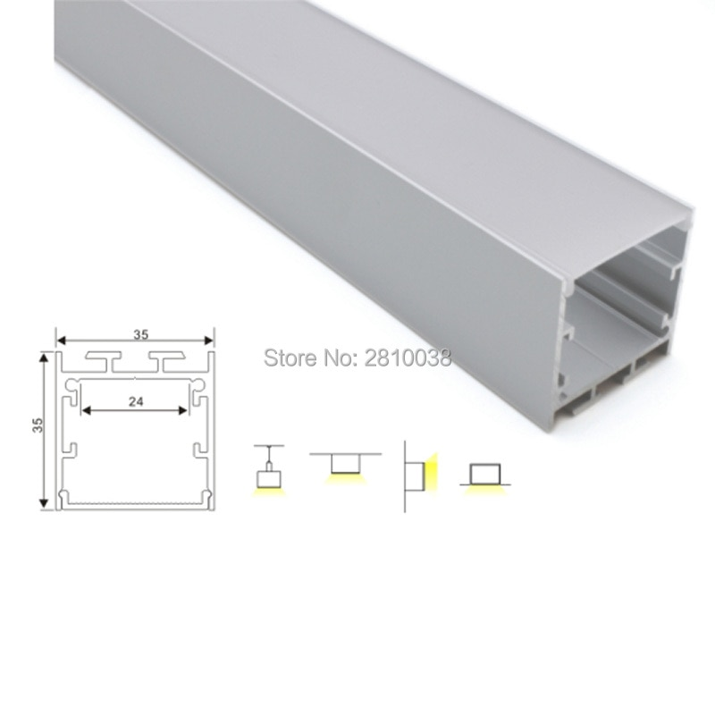 Juegos de 30X2 M/línea de cubierta de lote, perfiles de extrusión led de tipo cuadrado y Canal U de aluminio para lámparas de techo empotradas de pared