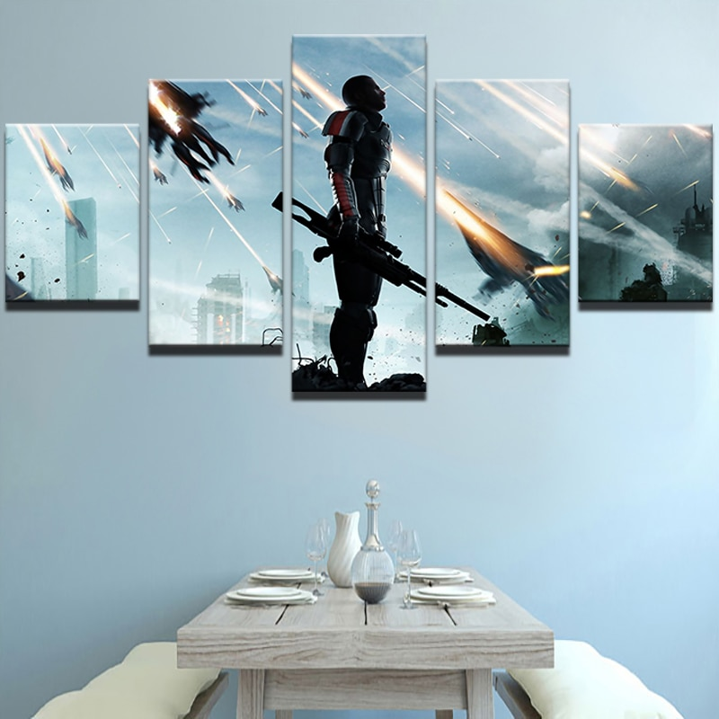 Modular Pictures Home Decor HD Impresso Painel de Arte Da Parede Da Lona Poster 5 Mass Effect Jogo Moldura Pintura Sala de estar