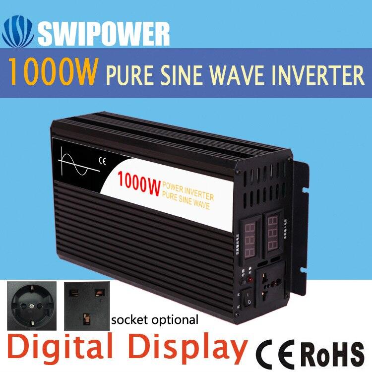 Инвертор солнечной энергии 1000 Вт с чистым синусоидальным излучением, 12 В, 24 В, 48 в перем. Тока, 110 В, 220 В, цифровой дисплей